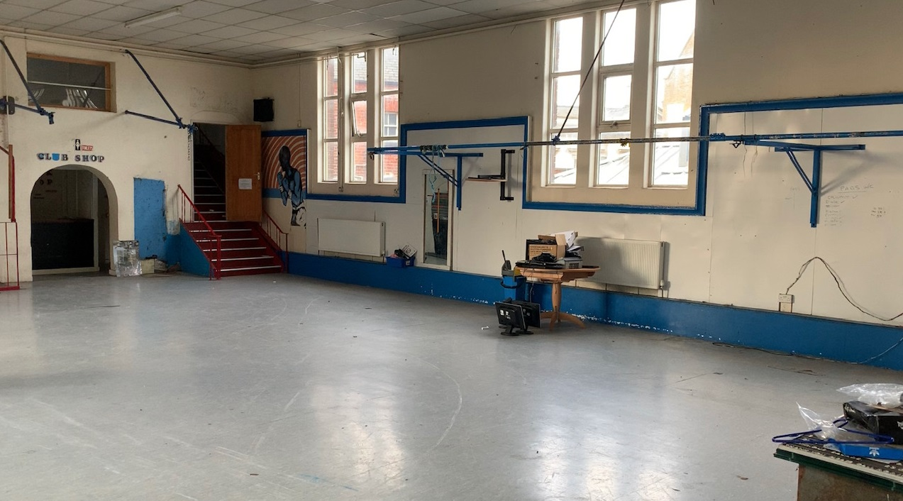 The gym inside St Paul's Boxing Academy before a major refit.